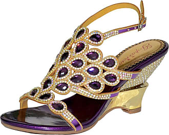 Find Nice Ladies Shiny Rhinestones Wedding Dress Bride Chunky Evening OL Sandals Purple 2.5 UK