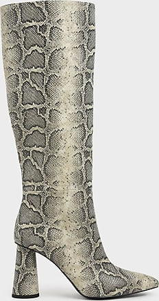 Charles & Keith Snake Print Knee High Heeled Boots