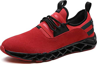 LanFengeu Men Trainers Solid Color Casual Low Top Lace up Sneakers Outdoor Lightweight Breathable Walking Jogging Running Sport Shoes Red