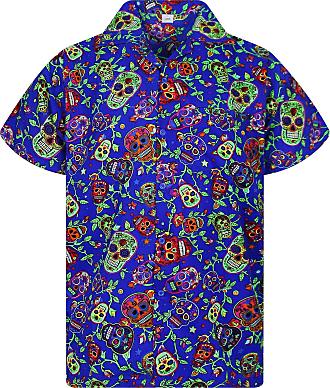 V.H.O. Funky Hawaiian Shirt, Shortsleeve, Skulls, Multi Blue, 4XL