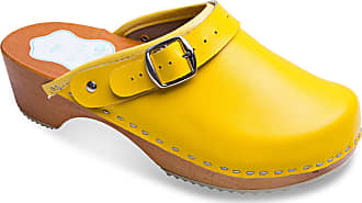 FUTURO FASHION Womens Healthy Natural Genuine Leather Wooden Sole Plain Clogs Unisex Colours Sizes 3-8 UK Yellow