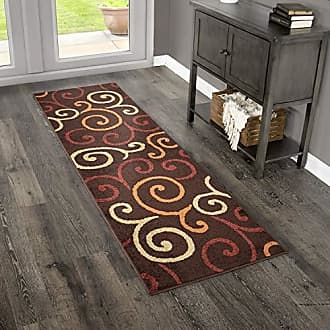 Orian Rugs Veranda Indoor/Outdoor Semi Swirls Runner Rug, 23 x 8, Brown