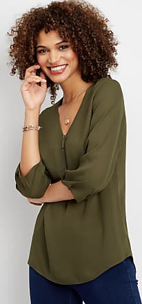 Maurices Solid Zip Front Tunic Blouse