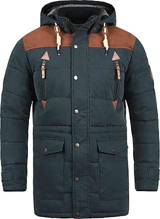Solid Dry Long Mens Winter Jacket with Stand-Up Collar and Detachable Hood in High Quality Cotton Blend - Blue - 0-3 Months
