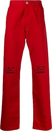 Raf Simons Calça jeans cintura alta com bordado - Vermelho