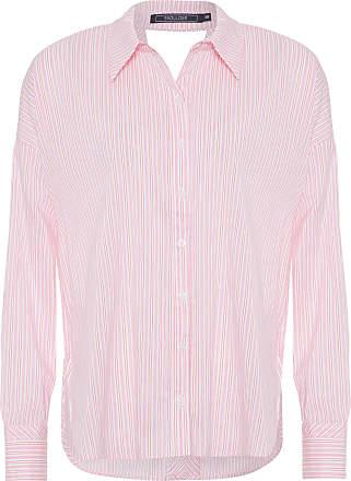 Shoulder Camisa Listrada Decote V Costas Shoulder - Rosa