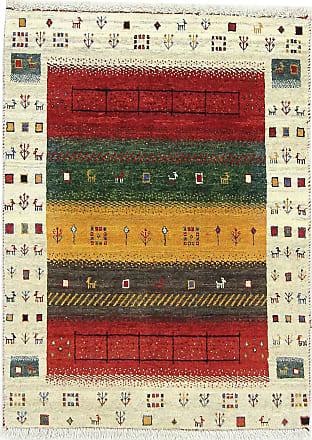 Nain Trading 111x84 Handknotted Persian Gabbeh Loribaft Rug Beige/Dark Green (Wool, Iran/Persia)