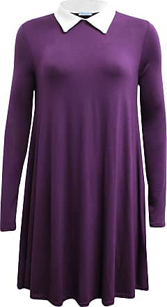 ZEE FASHION New Womens Ladies Long Sleeve Plus Size Peter pan Collar Swing Dress. UK 8-26 Purple