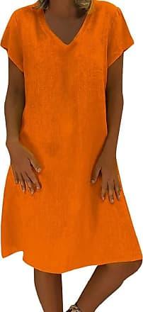 Yvelands Beach Dress for Women Casual Solid Knee Long T-Shirt Cotton A-Line Dress Loose Sundress for Ladies Sale Orange