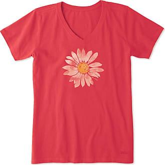Life is good Womens Watercolor Daisy Crusher Vee XXXL Americana Red