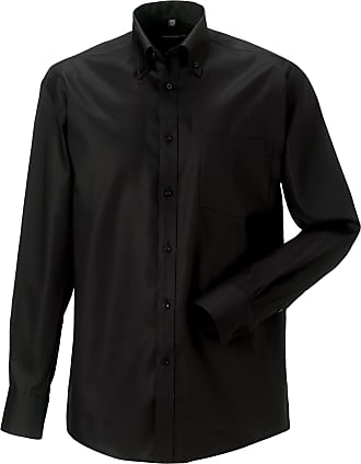 Russell Athletic Russell Collection Mens Long Sleeve Ultimate Non-Iron Shirt (18inch) (Black)