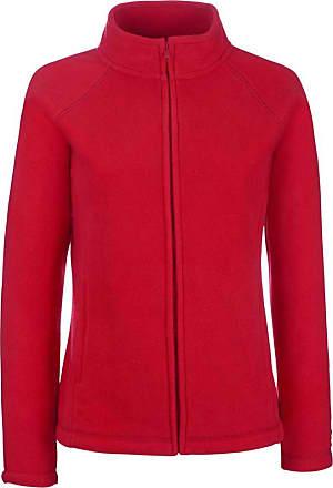 Fruit Of The Loom Ladies Lady Fit Full Zip Fleece Jacket Red