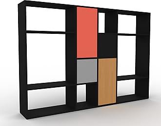 MYCS Bibliothèque murale - Noir, modèle moderne, étagère, avec porte Gris - 229 x 157 x 35 cm, modulable