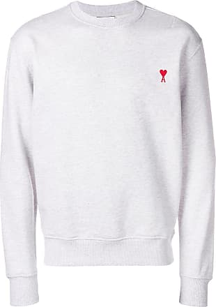 Ami crewneck sweatshirt with red Ami de Coeur embroidery - 055 Heather Grey