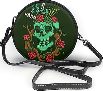 Turfed Skull and Roses Print Round Crossbody Bags Women Shoulder Bag Adjustable PU Leather Chain Strap and Top Zipper Small Handbag Handle Tote