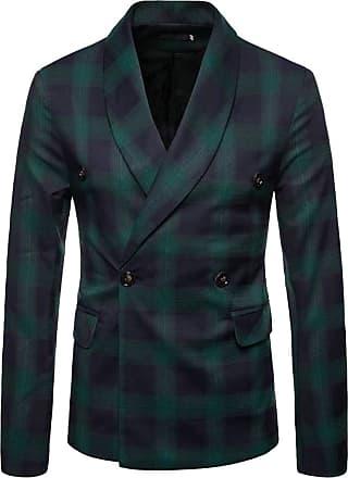 H&E Mens Autumn Plaid Lapel Double Breasted Sport Coat Blazer Jacket Blackish Green M