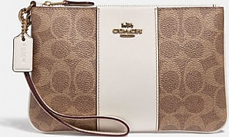 Coach Small Wristlet In Colorblock Signature Canvas in Beige