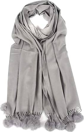 Your Dezire Plain Pasmina Pom Pom Scarve Large Shawl Winter Scarf Celebrity Style Wraps (Grey)