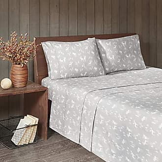 Woolrich 100% Cotton Flannel Ultra Soft Warm Cozy Cold Weather Winter Cute Animals Chic Printed Sheet Set Bedding, Queen Size, Grey Moose