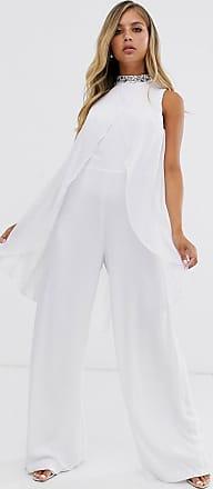 Lipsy Tuta jumpsuit decorata bianca con mantella-Bianco