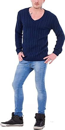 21Fashion Mens Long Sleeve Chunky Cable Knitted Jumper Adults Fancy V Neck Casual Sweater Top Navy 4X Large