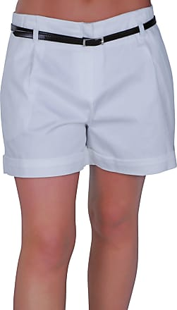 Eyecatch Cuba Ladies Belted Shorts Womens Smart Turn Up Hot Pants (White, Size 10)