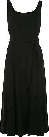 Alcaçuz Vestido midi Lea com amarração - Preto