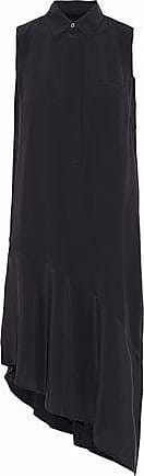 Equipment Equipment Woman Tira Asymmetric Washed-silk Dress Black Size XS
