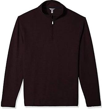 Van Heusen Mens Flex Long Sleeve 1/4 Zip Ottoman Solid Shirt, Red Oxblood, Medium