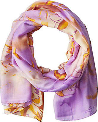La Fiorentina Womens Abstract Floral Print Scarf with Swirls, Lavender Combo, One Size