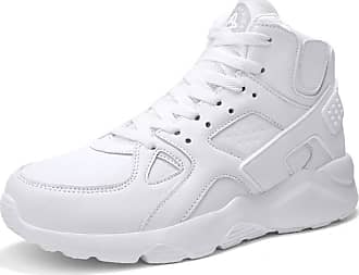 LanFengeu Men Sneakers Breathable Casual Lace up High Top Trainers Outdoor Platform Anti Slip Walking Fitness Runnning Sport Shoes White