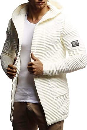 LEIF NELSON Men Cardigan Jacket Hood LN-7180 Ecru Large