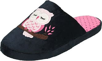 Spot On Ladies Owl Print Mule Slippers X2093 - Navy Textile Fabric - UK Size 5-6 - EU Size 38-39 - US Size 7-8