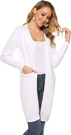 Abollria Women Cardigans Casual Long Sleeve Open Front Knitted Long Cardigan Sweater Coat with Pockets White