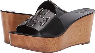 aa800588e Tory Burch 80 mm Ines Wedge Slide (Perfect Black Silver) Womens Shoes