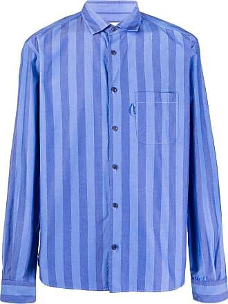 Ymc You Must Create Camisa Curtis de algodão com listras - Azul