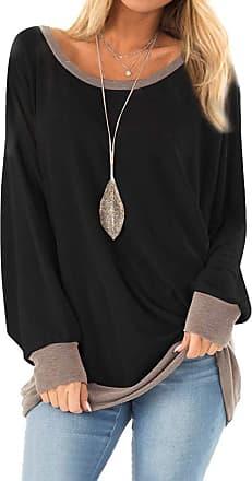 Dresswel Women Round Neck Long Sleeve Tops Color Block Oversized Jumper Blouse T-Shirt Sweatshirt Black