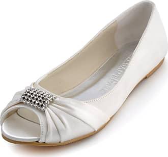 Elegantpark EP2053 Ivory Womens Satin Peep Toe Flats Rhinestones Wedding Flats UK 10