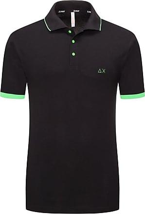 Sun 68 Übergröße : Sun 68, Poloshirt mit Neon-Streifen, extralang in Schwarz für Herren