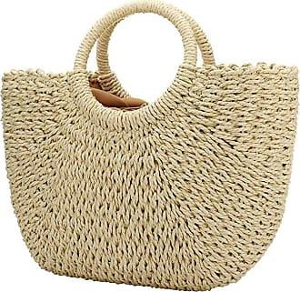 YYW Straw Bags, Womens Straw Handbags Large Hobo Bag Summer Beach Tote Woven Handle Shoulder Bag (Beige)