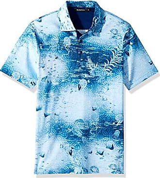 Bugatchi Mens Soft Finish Trim Fit Under The Sea Print Polo Shirt, Ocean, S