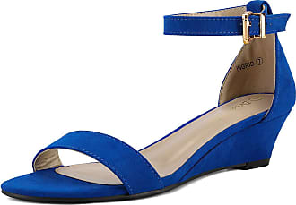 Dream Pairs Womens Ingrid Royal Blue Suede Ankle Strap Low Wedge Sandals Size 6.5 US/4.5 UK