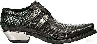 New Rock Newrock 7934-S2 Mens Black Western Embossed Python Snakeskin Leather Shoes with Buckles and Steel Heels 45
