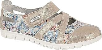 Boulevard Flora Ladies Leather Wide Fit Shoes Grey/Multi Floral UK 9