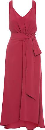 Shoulder Vestido Midi Amarração Crepe - Vermelho
