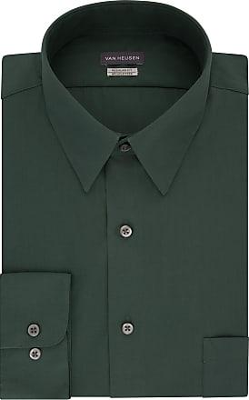 Van Heusen Mens Poplin Regular Fit Solid Point Collar Dress Shirt, Dark Leaf, XXL (Neck 47 cm Sleeve 86/89 cm)