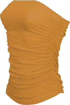 Janisramone Womens New Boobtube Bandeau Strapless Top Ladies Both Side Ruched Crop Bra Vest Top Mustard