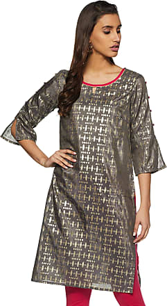 Aurelia Womens Silk Straight Kurta (19FEA10424-100277_ Grey_ X-Large)