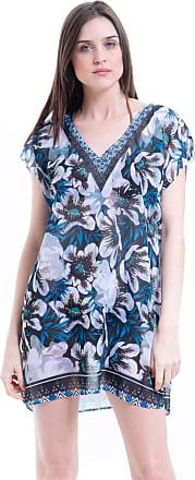 101 Resort Wear Saida de Praia Crepe Estampada Floral Azul (G)