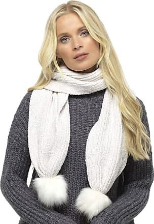 Foxbury Ladies Chenille Scarf with Faux Fur Bobble Winter White